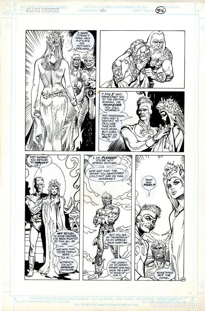 DIBUJO ORIGINAL DE ESTEBAN MAROTO - THE ATLANTIS CHRONICLES N.4 P.34, DC COMICS (Tebeos y Comics - Art Comic)