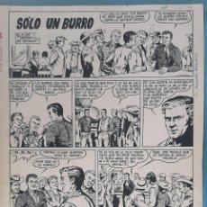 Comics: DIBUJO ORIGINAL PLUMILLA BERNET SOLO UN BURRO 1968 4 HOJAS O PLANCHAS, M7. Lote 204265236