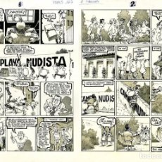 Cómics: DIBUJO ORIGINAL DE VENTURA & NIETO - PLAYA NUDISTA, EDITORIAL EL PAPUS N.167 P.6-7. Lote 204384276
