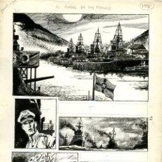 Cómics: DIBUJO ORIGINAL DE HORACIO LALIA - EL ÁNGEL DE LOS FIORDOS, 12P. COMPLETO, EDITORIAL RECORD. Lote 206536732