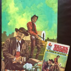 Cómics: DIBUJO ORIGINAL STRAUCK PORTADA NOVELA OESTE WESTERN TEXAS INDÓMITO TESORO DE LOS AZTECAS + NOVELA. Lote 209017160