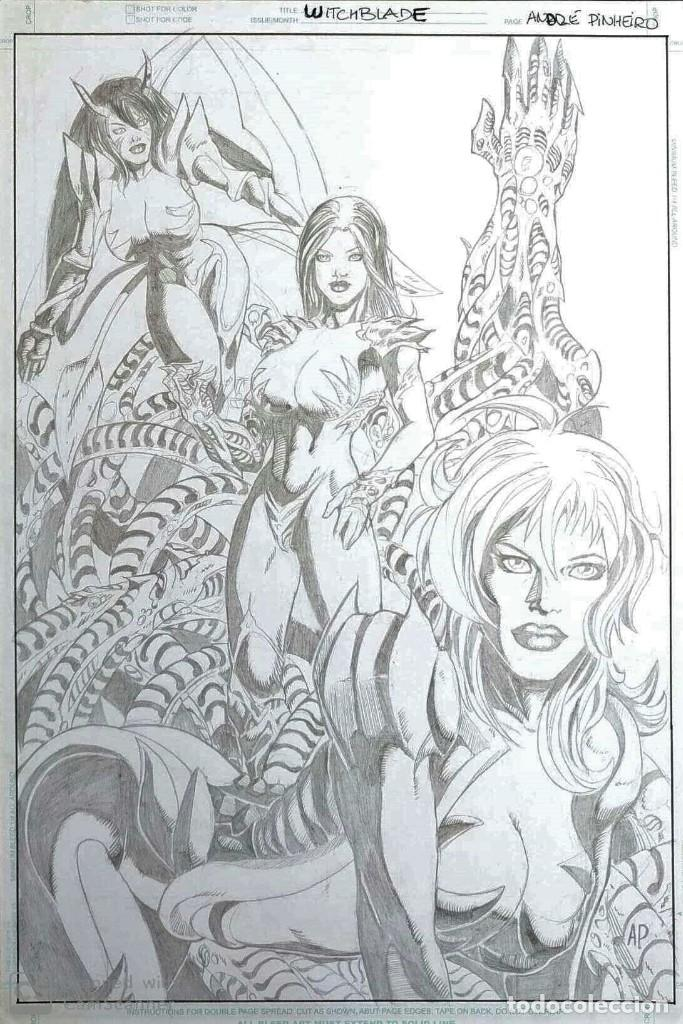 DIBUJO ORIGINAL WITCHBLADE - ANDRE PINHEIRO (Tebeos y Comics - Art Comic)