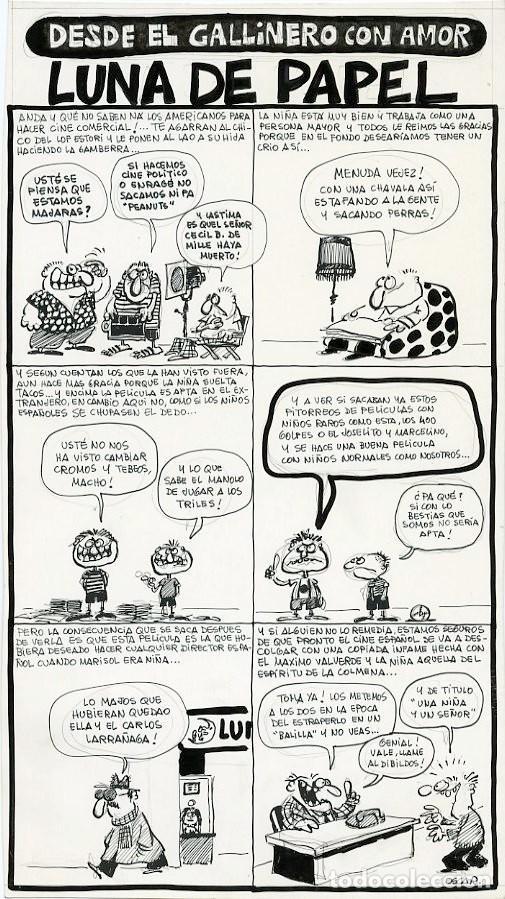 DIBUJO ORIGINAL DE ÓSCAR NEBREDA - DESDE EL GALLINERO CON AMOR, LUNA DE PAPEL, REVISTA EL PAPUS N.23 (Tebeos y Comics - Art Comic)