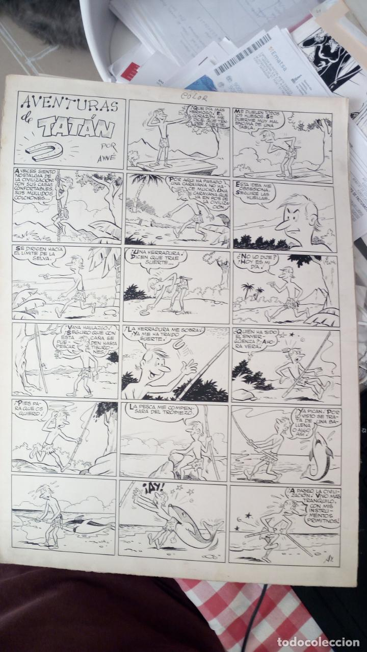 DIBUJO TINTA ORIGINAL DE AYNE AVENTURAS DE TATAN 43 X 32 (Tebeos y Comics - Art Comic)