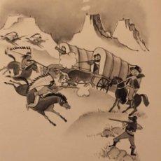 Cómics: LA CONQUISTA DEL OESTE. DIBUJO ORIGINAL, MONNERAT (SUIZA 1917- ESPAÑA 2005). Lote 217844221