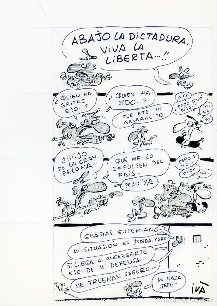 DIBUJO ORIGINAL DE IVÂ - ABAJO LA DICTADURA, VIVA LA LIBERTÁ.....!!, EL PAPUS N.539 P.3, AÑO 1980 (Tebeos y Comics - Art Comic)