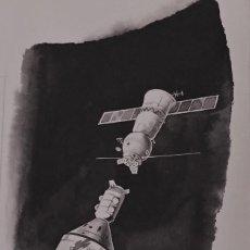 Cómics: DIBUJO ORIGINAL DE 1974 DE ASTRONÁUTICA, PIERRE MONNERAT (SUIZA 1917- ESPAÑA 2005). Lote 222430633