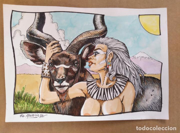 LADY KUDÚ - DIBUJO ORIGINAL A TINTA Y ACUARELA, FIRMADO.21X30CM. A4. MUCHO MEJOR EN MANO! (Tebeos y Comics - Art Comic)
