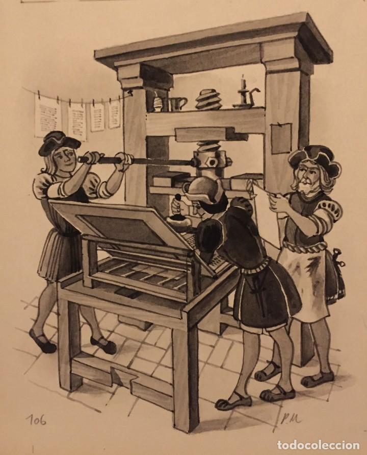 GUTENBERG: LA IMPRENTA, MONNERAT (SUIZA 1917- ESP 2005) (Tebeos y Comics - Art Comic)
