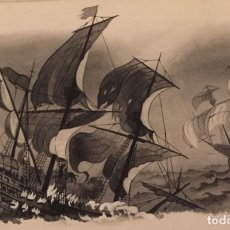 Cómics: EL DESASTRE DE LA ARMADA INVENCIBLE. MONNERAT (SUIZA 1917- ESP 2005), DIBUJO ORIGINAL. Lote 223466806