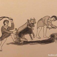 Cómics: LABRADORES EN EL FEUDALISMO, DE PIERRE MONNERAT (SUIZA 1917- ESP 2005),FIRMADO, SELLADO Y CATALOGADO. Lote 224085368