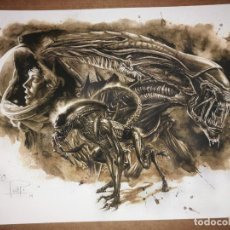 Cómics: ALIEN GICLEE ON WATERCOLOR PAPER.COFFEE PAINTING.EDICIÓN LIMITADA. Lote 231669210