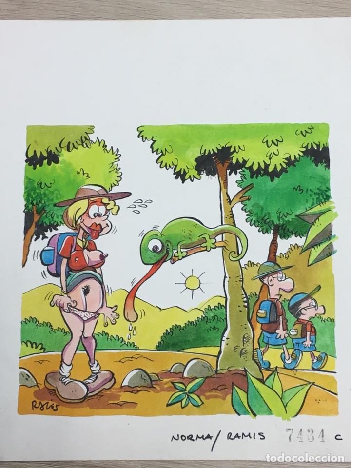 DIBUJO ORIGINAL DE RAMIS - ¡SEGUID EXPLORANDO! - 23X20CM (Tebeos y Comics - Art Comic)