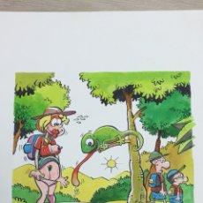 Comics: DIBUJO ORIGINAL DE RAMIS - ¡SEGUID EXPLORANDO! - 23X20CM. Lote 233580375