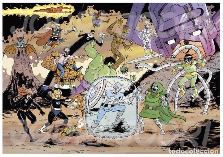 LÁMINAS NUMERADAS Y FIRMADAS DE LA ILUSTRACIÓN TRIBUTO A STAN LEE. (Tebeos y Comics - Art Comic)