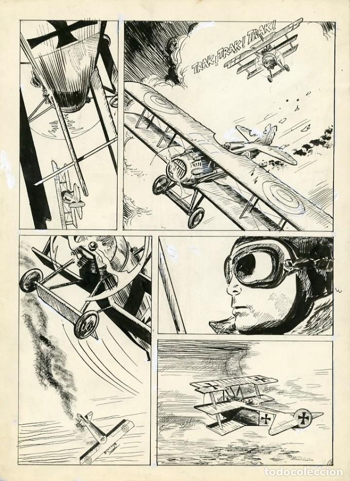 DIBUJO ORIGINAL DE VICTOR HUGO ARIAS - LA ÚLTIMA MISIÓN DEL BARÓN ROJO P.3, SKORPIO N.99 (Tebeos y Comics - Art Comic)