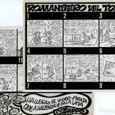 Cómics: DIBUJO ORIGINAL DE MANUEL VÁZQUEZ - ROMANSERO DEL TONTO, EL PAPUS N.488 P.12-13 (COMPLETO). Lote 249445480