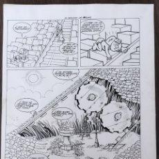 Cómics: HOJA ORIGINAL A PLUMILLA DEL GOLOSO DE RODAS .ORTEU .1971. Lote 255467780