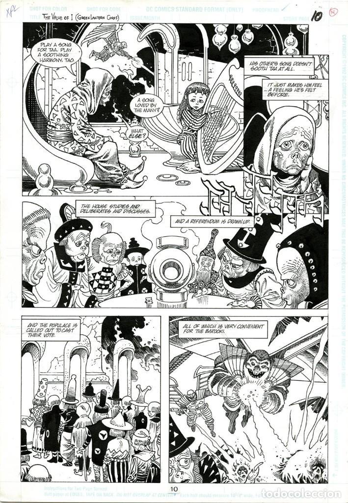 DIBUJO ORIGINAL DE ENRIQUE ALCATENA - GREEN LANTERN ANNUAL 5 P.10, DC COMICS 1996 (Tebeos y Comics - Art Comic)