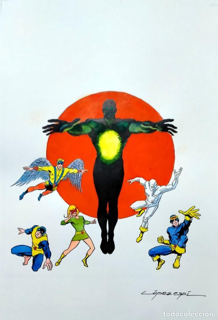 ORIGINAL DE LÓPEZ ESPÍ X-MEN PATRULLA X (RECREACIÓN DEL AUTOR FIRMADA) TAMAÑO 42 X 31 CMS. (Tebeos y Comics - Art Comic)