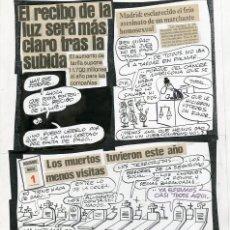 Cómics: DIBUJO ORIGINAL DE MANUEL VÁZQUEZ - EL RECIBO DE LA LUZ SERÁ MÁS CLARO TRAS LA SUBIDA, EL PURO N.28. Lote 269622898