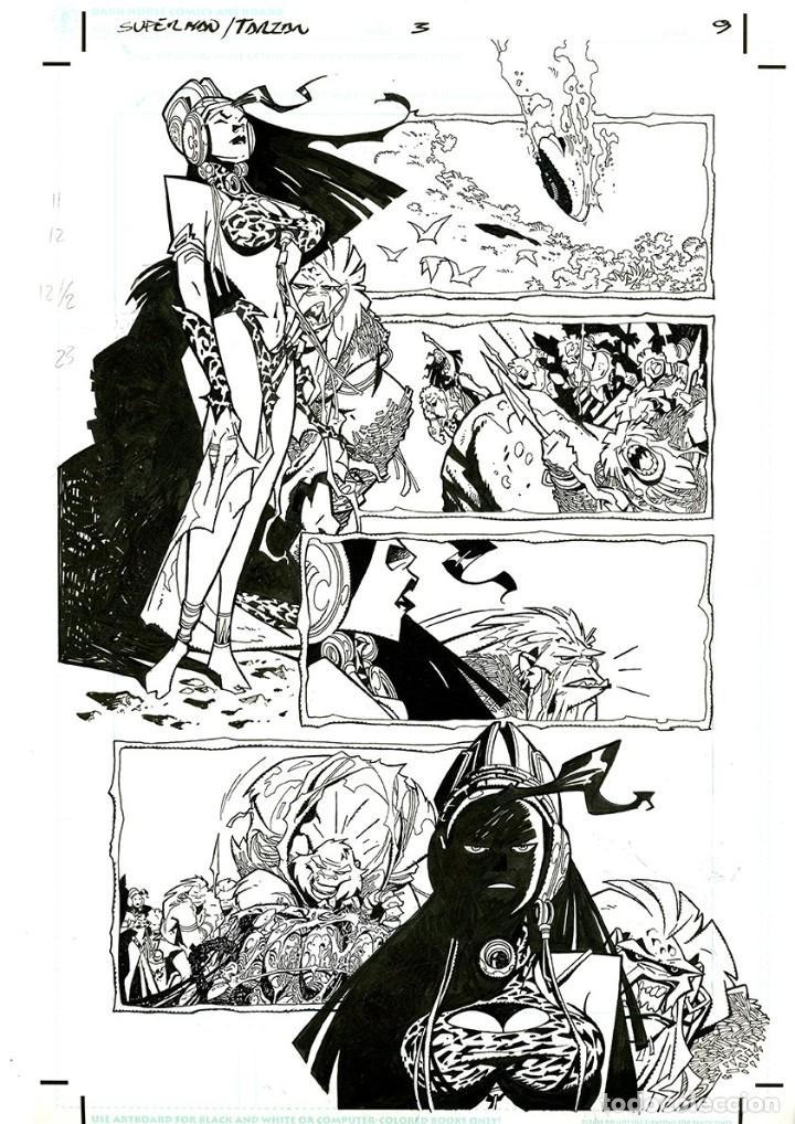 DIBUJO ORIGINAL DE CARLOS MEGLIA - SUPERMAN / TARZÁN P.9, DC (Tebeos y Comics - Art Comic)