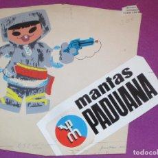 Fumetti: DIBUJO ORIGINAL PINTADO A MANO MANTAS PADUANA NIÑOS ESQUIMAL. Lote 276687873