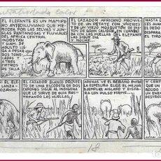 Cómics: DIBUJO ORIGINAL DE SERRA MASSANA: LAS GRANDES CACERÍAS , PUBLICADO EN S DE EDICIONES TBO DE 1946. Lote 279379463