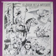 Comics: DIBUJO ORIGINAL PLUMILLA EL TREN DE LA MUERTE 1969 ROBERT LLIN 4 HOJAS F4. Lote 286639658