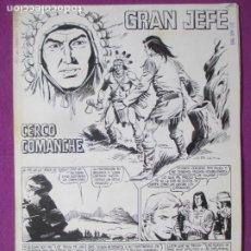 Comics: DIBUJO ORIGINAL PLUMILLA GRAN JEFE CERCO COMANCHE 1969 ROBERT LLIN 4 HOJAS F5. Lote 286639888