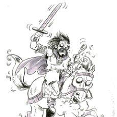 """Cómics: ILUSTRACIÓN ORIGINAL INKTOBER DE MITOLOGÍA CATALANA """"COMTE ARNAU"""" POR JODRI. Lote 294449423"""