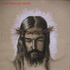 Arte: 727.- ACUARELA 43X57 ,,,CRISTO CORONA ESPINAS,,, F.CALVO . Lote 25578226