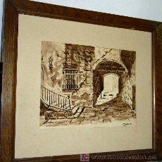 Arte: 1199.- ACUARELA 35X40 ,,,PORTAL PUEBLO,,, CABRER. Lote 24756733