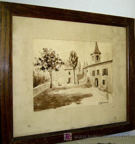 1200.- ACUARELA 35X40 ,,,PLAZA PUEBLO,,, CABRER (Arte - Acuarelas - Contemporáneas siglo XX)