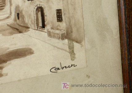 Arte: 1200.- ACUARELA 35x40 ,,,PLAZA PUEBLO,,, CABRER - Foto 2 - 24310014