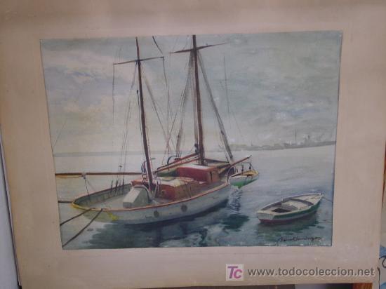 TORTOSA-BENET DOMINGO-VELERO EN BARCELONA (Arte - Acuarelas - Contemporáneas siglo XX)