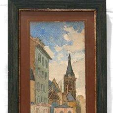 Arte: ACUARELA FRANCESA VISTA PUEBLO FIRMADA MILLET 1907. Lote 17654659