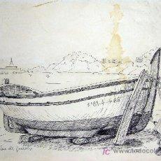 Arte: 1640.- DIBUJO TINTA 21X30 ,,, V.BATET ,,, BARCAS EN SANT FELIU DE GUIXOLS. Lote 24191724
