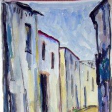 Arte: 1642.- ACUARELA 43X25 ,,, SANCHEZ ,,, CALLE PUEBLO. Lote 25405205