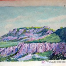 Arte - 1650.- Acuarela 18x26 ,,, Atribuido a S. Amargant ,,, Montaña de Sant Llorenç del Munt - 24981083
