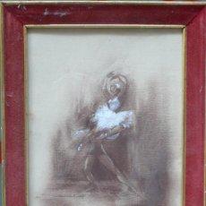 Arte: MONTSERRAT, E. DOS DIBUJOS DE BAILARINAS. LÁPIZ Y ACUARELA.. Lote 25058043