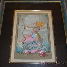 Arte: ACUARELA BARAJA DE LOS ENAMORADOS FIRMADO J S ,J SERRATO 1930. Lote 10547401