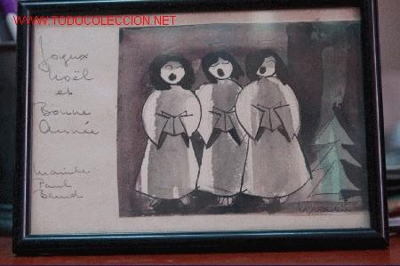 ACUARELA ORIGINAL FELICITACION DE NAVIDAD (Arte - Acuarelas - Contemporáneas siglo XX)
