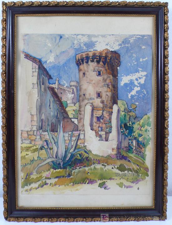 castelldefels, 1930. firmado: felix buttner. ta - Comprar Acuarelas ...