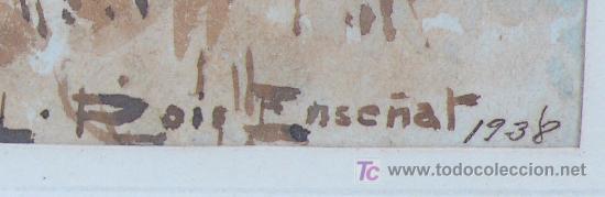 Arte: paisaje sin datos. firmado: roig enseñat, 1938. Acuarela enmarcada. tamaño marco: 42x53cm. - Foto 3 - 13363928