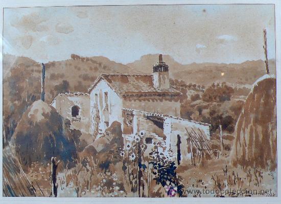 Arte: paisaje sin datos. firmado: roig enseñat, 1938. Acuarela enmarcada. tamaño marco: 42x53cm. - Foto 2 - 13363928