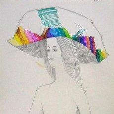 Arte: 1809.- LÁPIZ Y TINTA COLOR SOBRE PAPEL 48X34. PAMELA. MANFER. Lote 25296440