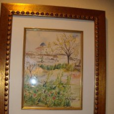 Arte: CUADRO DE ACUARELA, PAISAJE CON CATEDRAL DE MONFORTE DEL CID, ALICANTE, FIRMA, M. CARPE 85. Lote 27258644