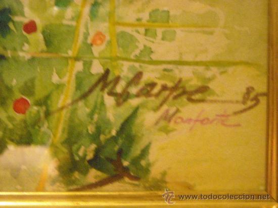Arte: cuadro de acuarela, paisaje con Catedral de Monforte del Cid, Alicante, firma, M. Carpe 85 - Foto 2 - 27258644