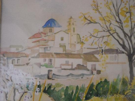 Arte: cuadro de acuarela, paisaje con Catedral de Monforte del Cid, Alicante, firma, M. Carpe 85 - Foto 3 - 27258644